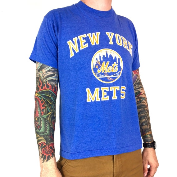 Vintage 80s MLB New York Mets Screen Stars 50/50 blue single stitch Made in USA baseball graphic tee t-shirt shirt - Size M