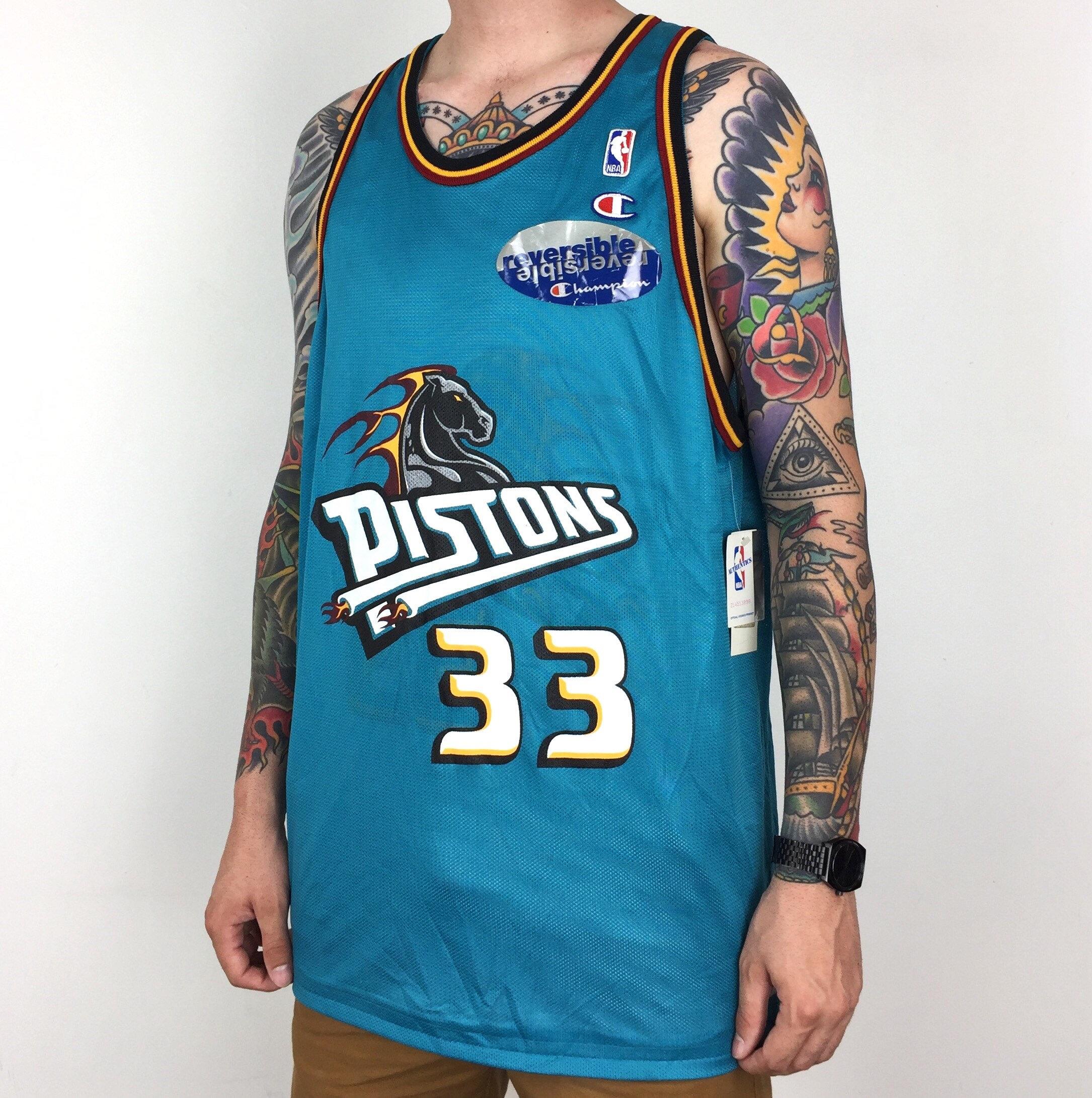 fa0f0a69e Rare Deadstock NWT Vintage 90s Champion NBA Detroit Pistons Grant Hill  33  blue white reversible basketball jersey - Size 48   XL