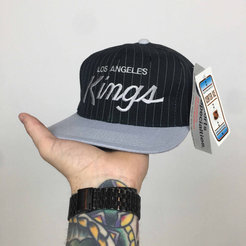 best loved 9246a aad76 Rare Deadstock Vintage 90s Sports Specialties NHL LA Los Angeles Kings Wool  pinstripe single line Script hockey snapback hat