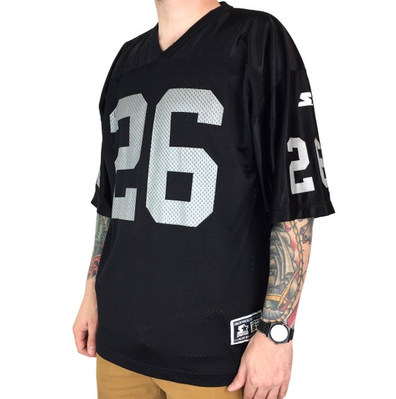 Vintage 90s Starter NFL Los Angeles Oakland Raiders Napoleon Kaufman #26 Made in USA black football jersey - Size 52 / XL