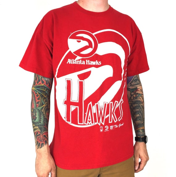 Vintage 90s NBA Atlanta Hawks The Game Made in USA single stitch red basketball graphic tee t-shirt shirt - Size L