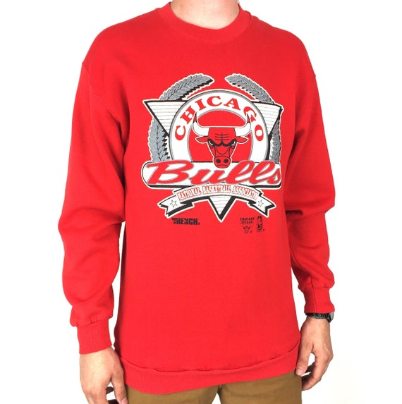 Vintage 90s 1992 92 NBA Chicago Bulls Trench MFG Made in USA red pullover crewneck basketball graphic sweatshirt - Size M