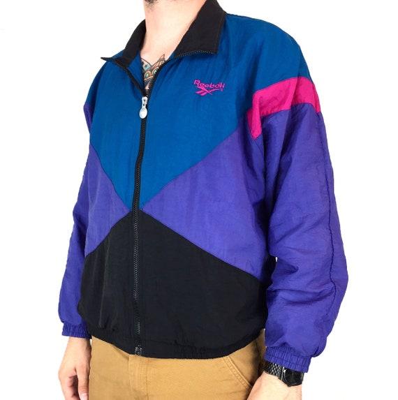 Vintage 90s Reebok tri tone color block embroidered logo full zip up windbreaker track jacket - Size M-L