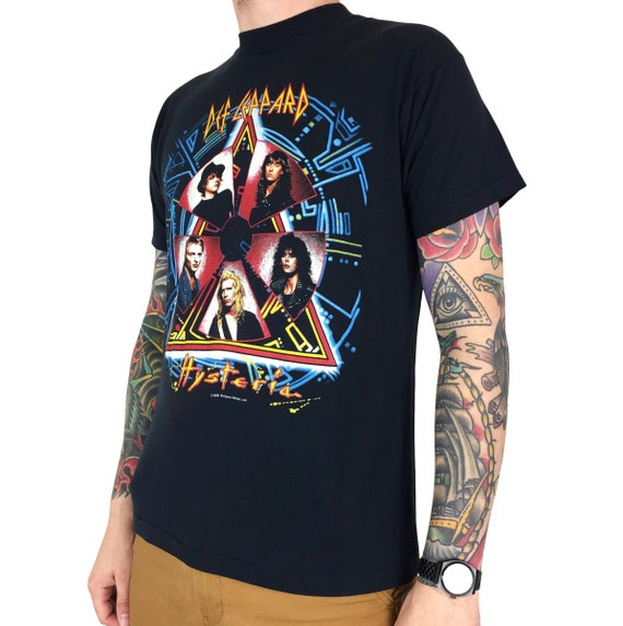 Rare Vintage 80s 1988 88 Def Leppard Hysteria American Tour album promo rock and n roll band concert graphic tee t-shirt shirt - Size M