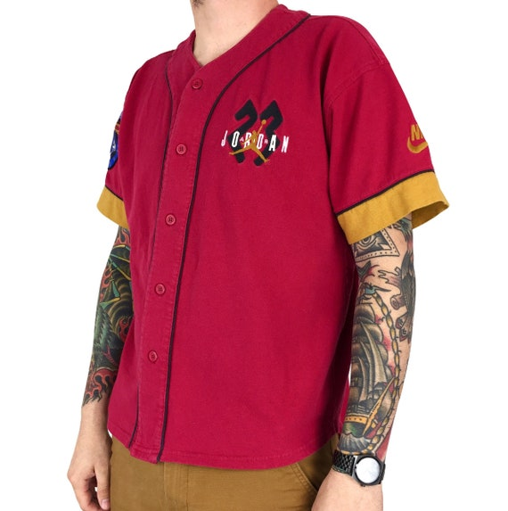 Rare Vintage 90s Nike Air Jordan button up baseball jersey red gold embroidered tee t-shirt shirt - Size M-L
