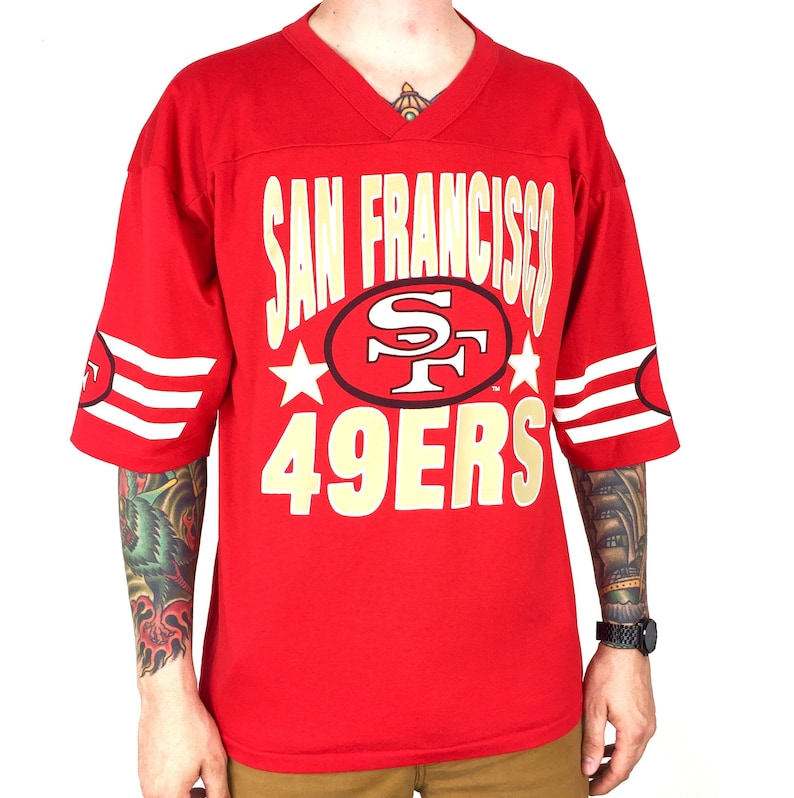 0d1c7078 Vintage 80s NFL San Francisco 49ers Forty Niners Garan jersey style single  stitch Made in USA football graphic tee t-shirt shirt - Size XL