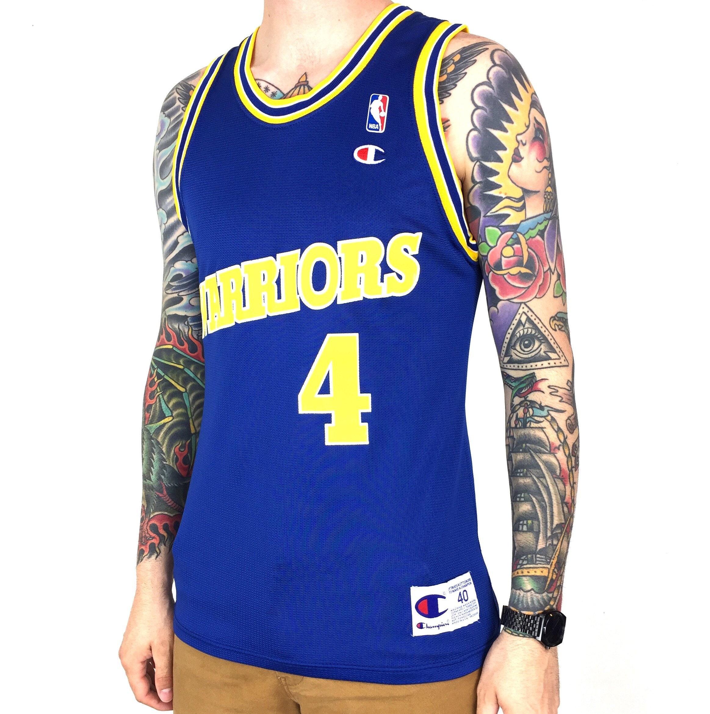 abb2abab Vintage 90s Champion NBA Golden State Warriors Chris Webber #4 blue basketball  jersey - Size 40 / M