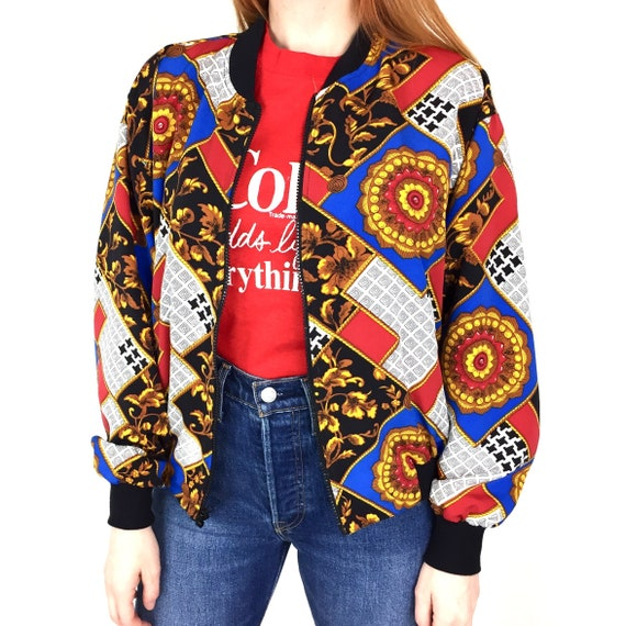 Vintage 90s Notations Chanel inspired royalty baroque abstract print rainbow lightweight zip up bomber jacket - Size Women's S