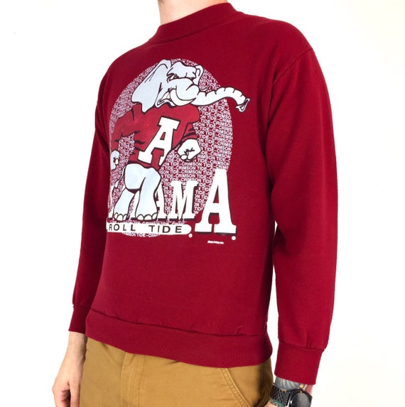 Vintage 90s NCAA University of Alabama Crimson Roll Tide Made in USA pullover crewneck college graphic sweatshirt - Size S