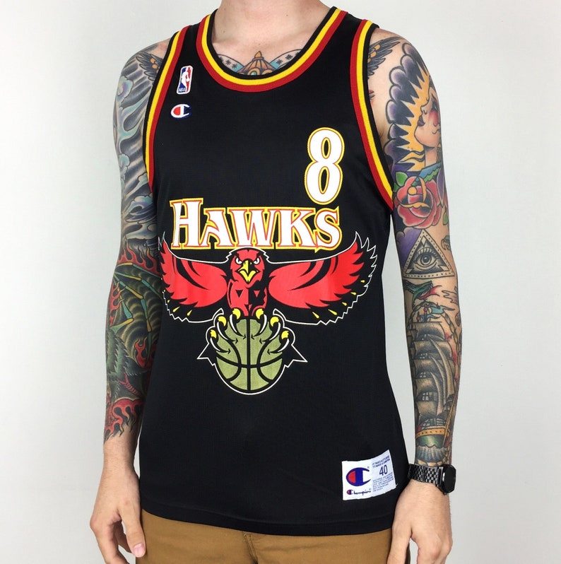 Rare Vintage 90s Champion NBA Atlanta Hawks Steve Smith  8 black basketball  jersey - Size 40   M f31f7b2b0
