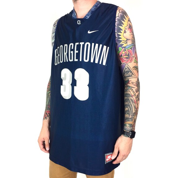 Vintage 90s Nike NCAA Georgetown University Hoyas Patrick Ewing #33 Made in USA basketball jersey - Size XL