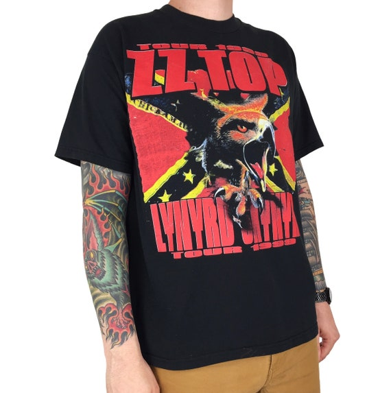 Vintage 90s 1999 99 Lynyrd Skynyrd ZZ Top Tour double sided band concert graphic tee t-shirt shirt - Size XL