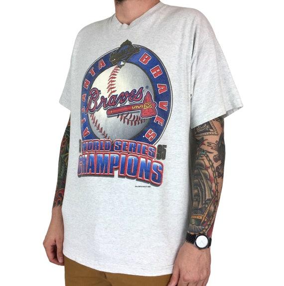 Vintage 90s 1995 95 MLB Atlanta Braves World Series Champions Salem Sportswear baseball graphic tee t-shirt shirt - Size XL