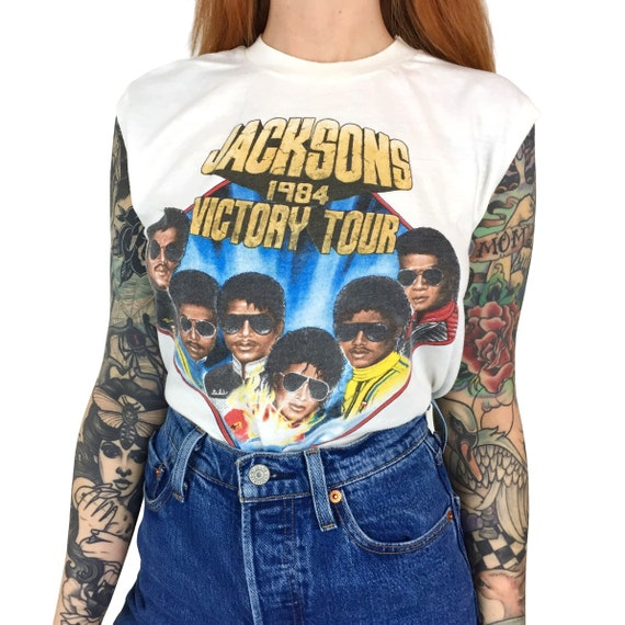 Vintage 1984 84 Jacksons The Jackson 5 Five World Tour Made in USA pop concert sleeveless graphic tee t-shirt shirt - Size S