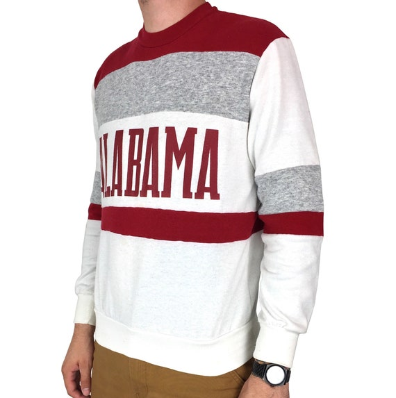 Vintage 80s NCAA University of Alabama Crimson Roll Tide Nutmeg Mills Made in USA pullover crewneck college graphic sweatshirt - Size S