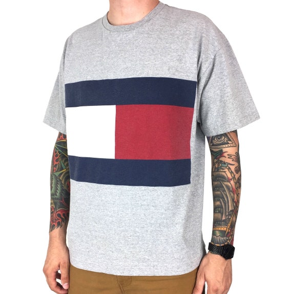 Vintage 90s Tommy Hilfiger big flag heather grey graphic tee t-shirt shirt - Size L