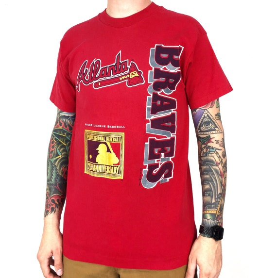 Vintage 90s 1994 94 MLB Atlanta Braves red single stitch Made in USA baseball graphic tee t-shirt shirt - Size M