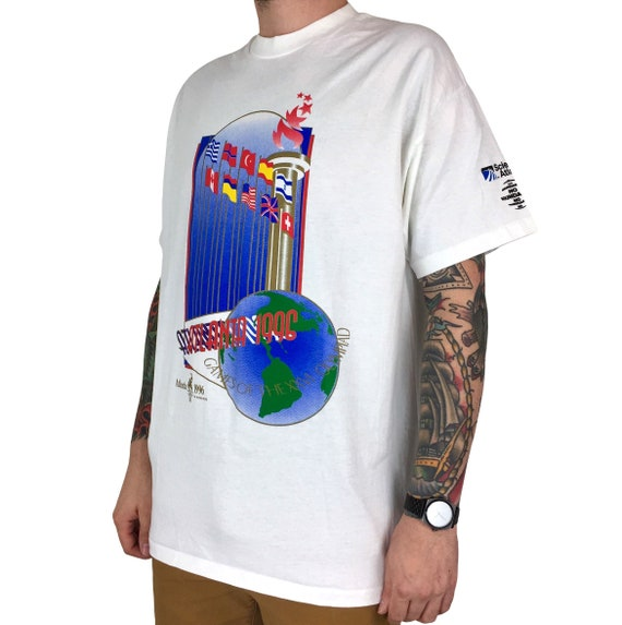 Vintage ATL 1996 96 Atlanta Olympics Olympic Games single stitch Made in USA graphic tee t-shirt shirt - Size XL