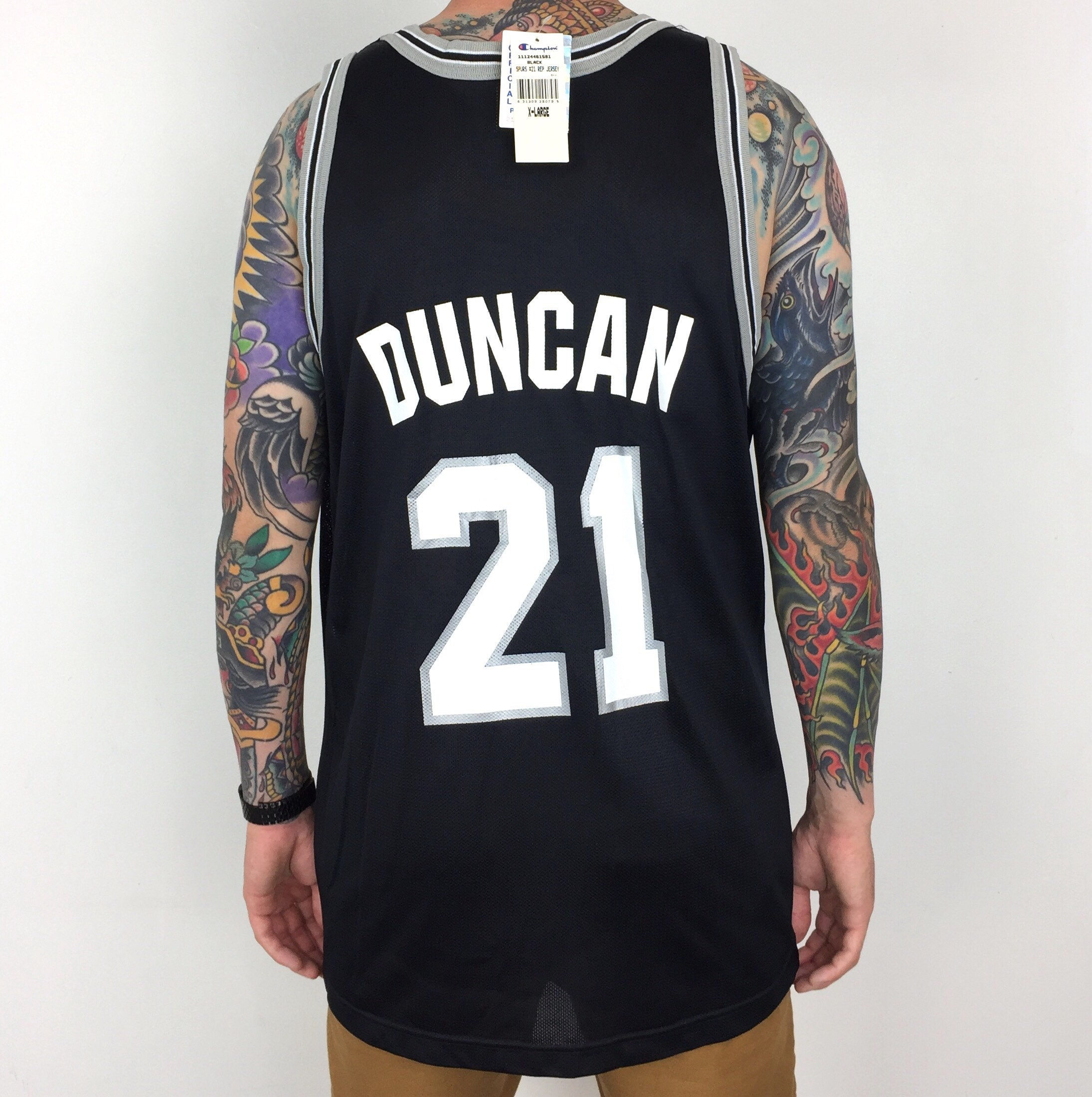 Rare Deadstock NWT Vintage 90s Champion NBA San Antonio Spurs Tim Duncan  21  black basketball jersey - Size 48   XL a264e072a