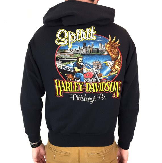 Vintage 90s Harley Davidson Pittsburgh Pennsylvania zip up hoodie hooded graphic sweatshirt - Size S-M