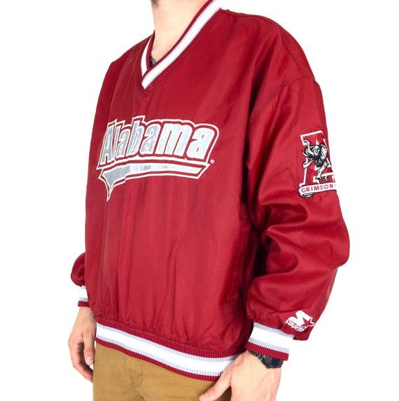 Vintage 90s Starter NCAA University of Alabama Crimson Roll Tide embroidered pullover windbreaker jacket - Size L