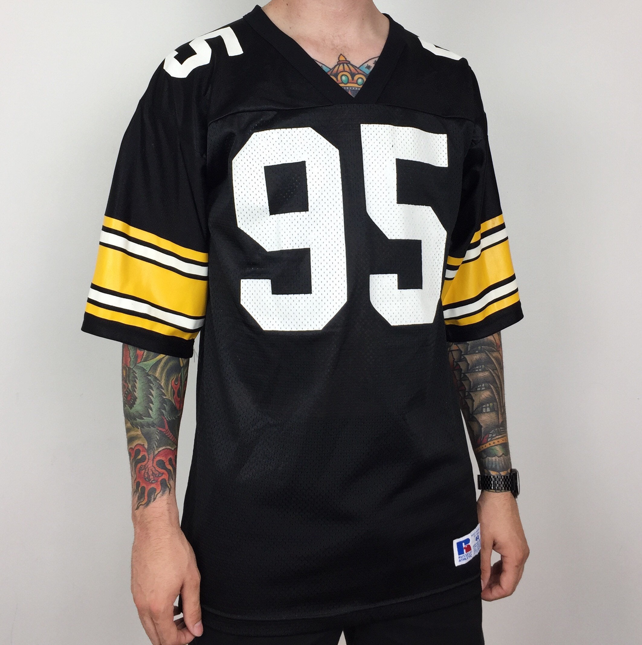 06456c676 ... rare vintage 90s russell athletic nfl pittsburgh steelers greg lloyd sr 95  black yellow football jer