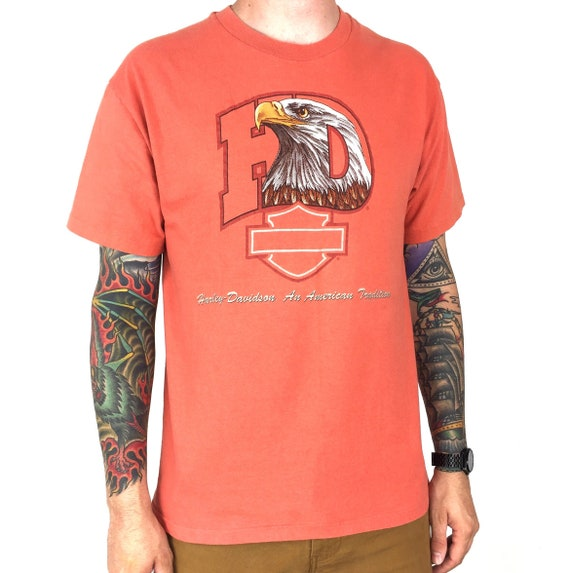 Vintage 90s 1996 96 Harley Davidson Eagle peach colorway Made in USA single stitch moto motorcycle graphic tee t-shirt shirt - Size M