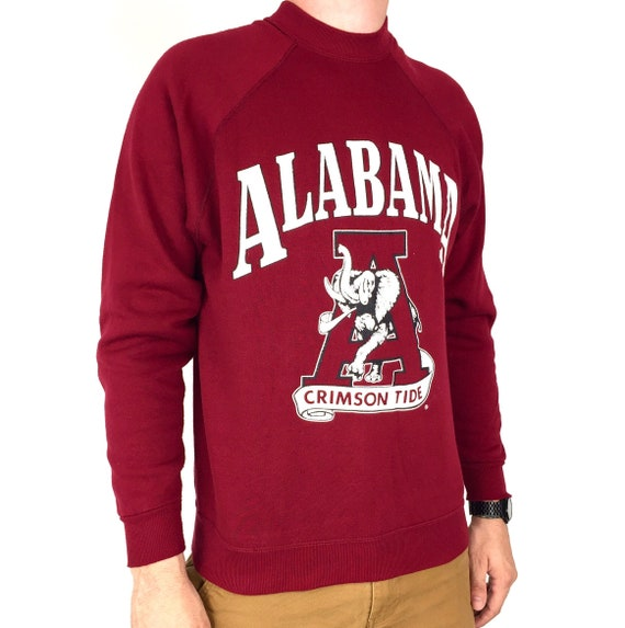 Vintage 80s NCAA University of Alabama Crimson Roll Tide raglan Made in USA pullover crewneck college graphic sweatshirt - Size S