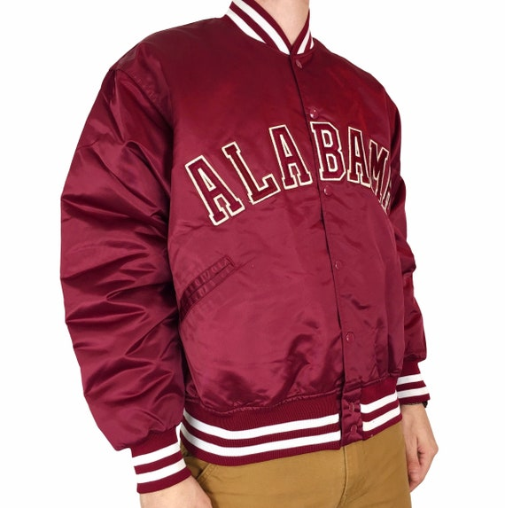 Vintage 80s Felco NCAA University of Alabama Crimson Roll Tide Made in USA satin bomber button up college jacket - Size XL