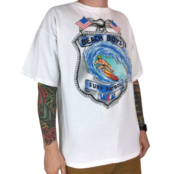 Vintage 90s 1990 90 The Beach Boys Surf Patrol Catch a Wave single stitch Made in USA band tour graphic tee t-shirt shirt - Size XL