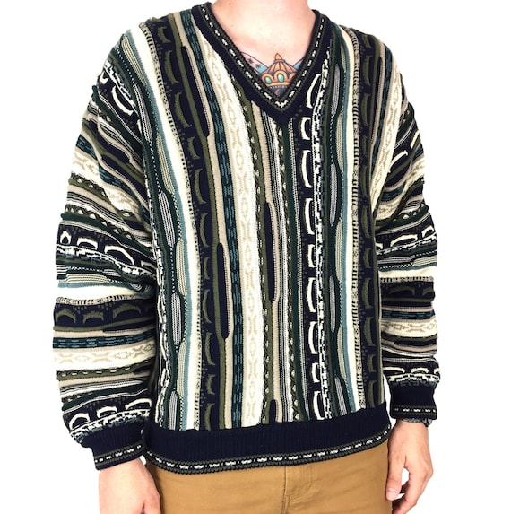 Vintage 90s Divots Coogi style inspired 3D knit Notorious BIG Biggie colorful pullover v-neck sweater - Size L