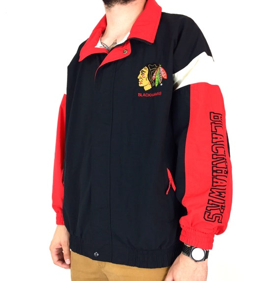 Vintage 90s Starter NHL Chicago Blackhawks zip up color block embroidered hockey windbreaker jacket - Size XL