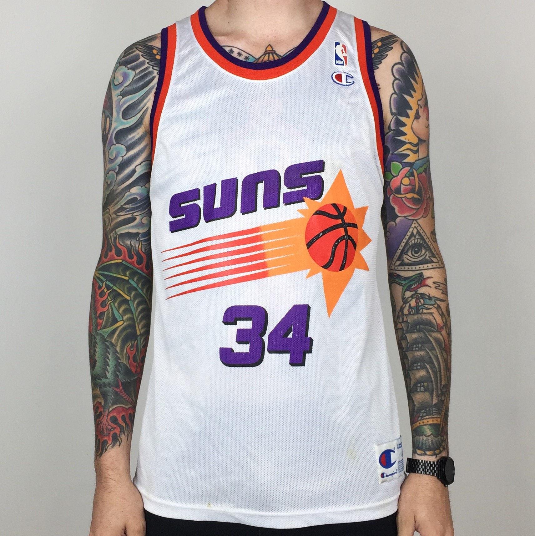 8c5f82b835d Vintage 90s Champion NBA Phoenix Suns Charles Barkley  34 white basketball  jersey - Size 40   M