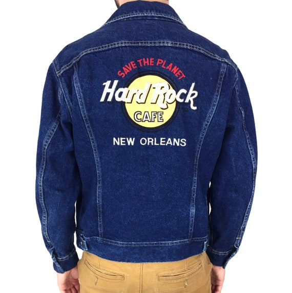 Vintage 90s Lee Hard Rock Cafe New Orleans Made in USA embroidered blue jean denim jacket - Size S-M