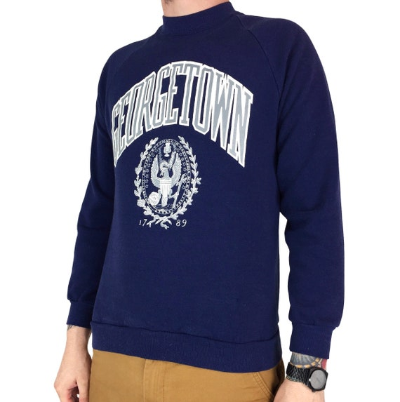 Vintage 80s NCAA Georgetown University Hoyas navy blue Made in USA raglan pullover crewneck college graphic sweatshirt - Size S