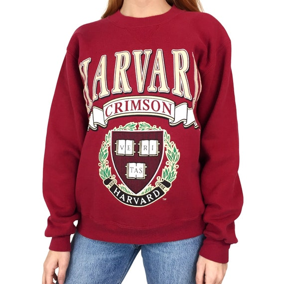 Vintage 90s NCAA Harvard University Crimson Made in USA pullover crewneck college graphic sweatshirt - Size XS
