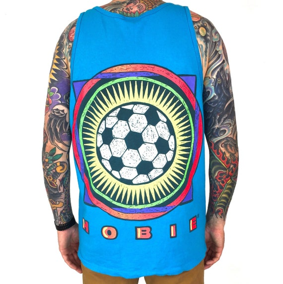 Vintage 90s Hobie Soccer single stitch Made in USA double sided graphic tank top tee t-shirt shirt - Size L