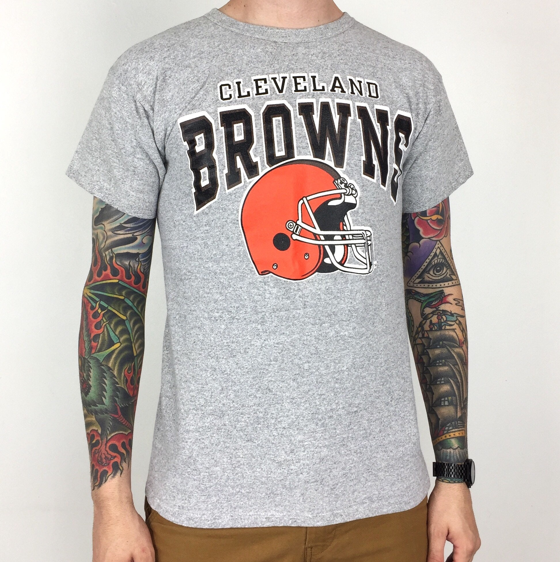 65d84d0f9 Vintage 80s Champion NFL Cleveland Browns Made in USA heather grey single  stitch football graphic tee t-shirt shirt - Size M