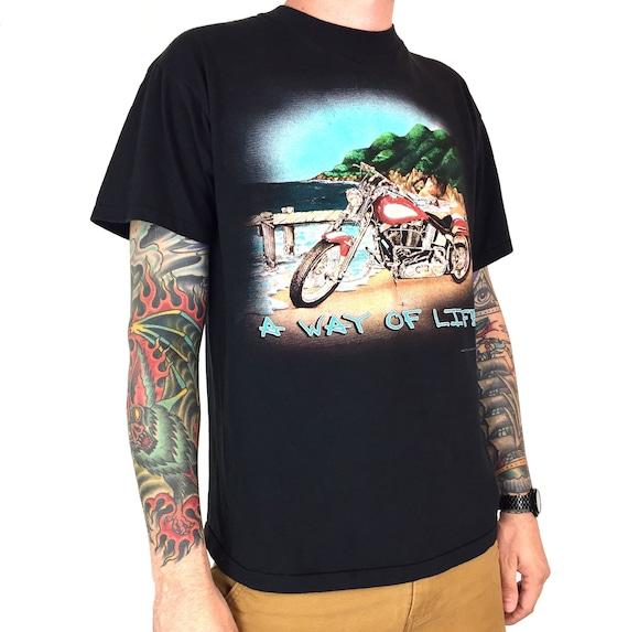Rare Vintage 90s 1994 94 Harley Davidson 3D Emblem A Way of Life single stitch moto motorcycle graphic tee t-shirt shirt - Size L