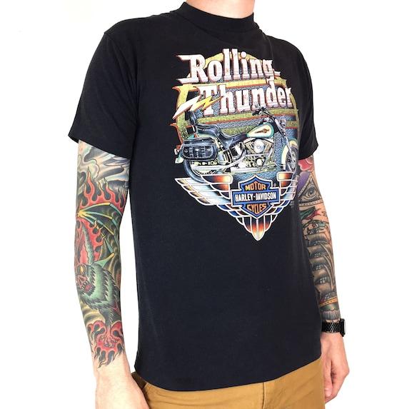 Rare Vintage 90s 1991 91 Harley Davidson 3D Emblem Rolling Thunder single stitch moto motorcycle graphic tee t-shirt shirt - Size M