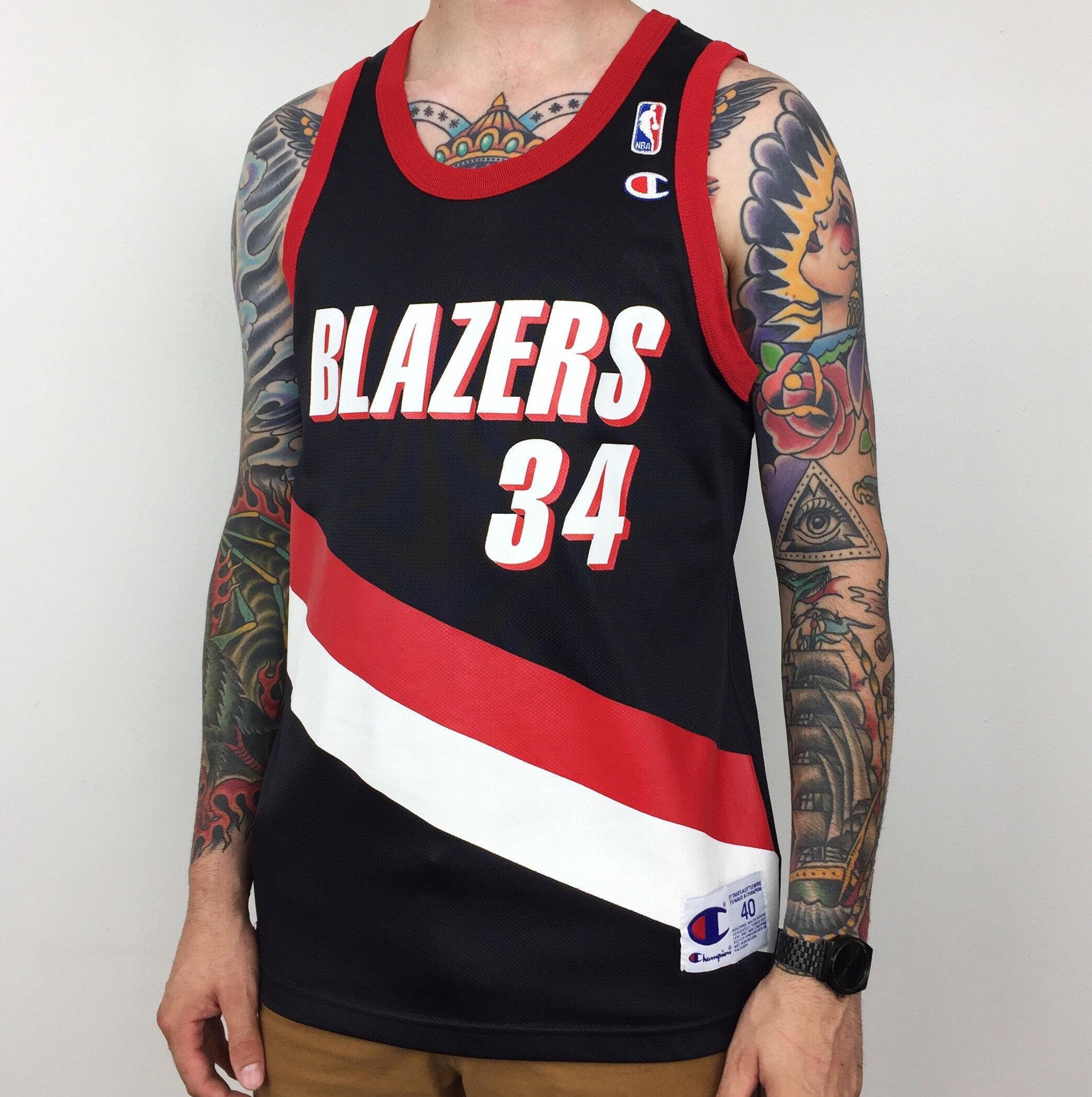 Asian Wearing Portland Blazer Jersey: RARE Vintage 90s Champion NBA Portland Trail Blazers