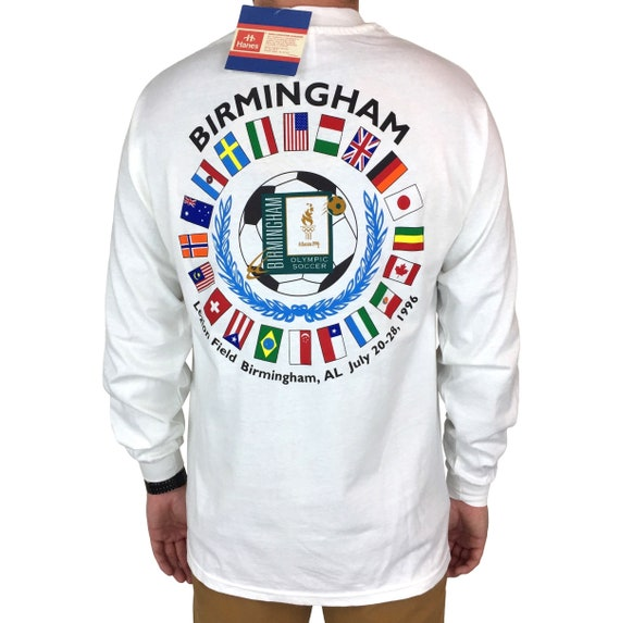 Deadstock NWT Vintage 90s ATL 1996 96 Atlanta Olympics Olympic Games Soccer long sleeve graphic tee t-shirt shirt - Size L