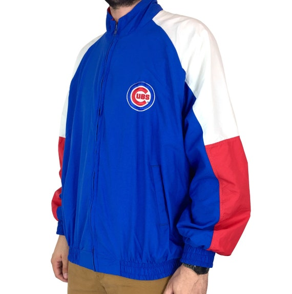 Vintage 90s Chalk Line MLB Chicago Cubs Made in USA color block red white blue embroidered zip up baseball windbreaker jacket - Size XL