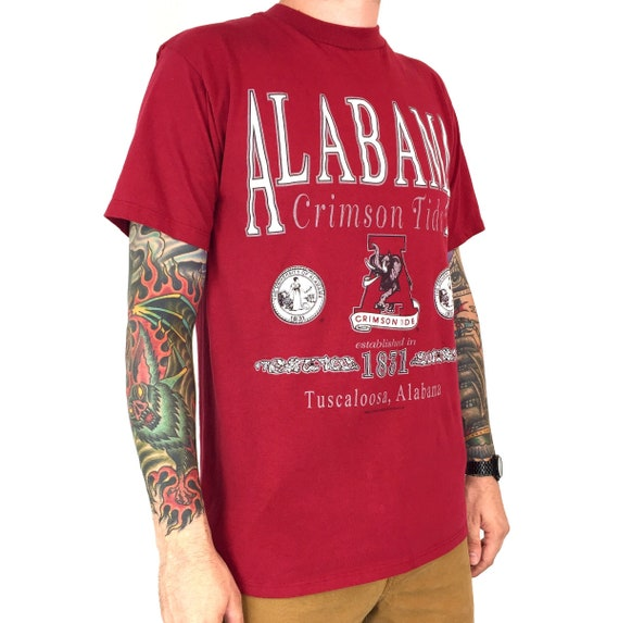 Vintage 90s NCAA University of Alabama Crimson Roll Tide Made in USA college graphic tee t-shirt shirt - Size L