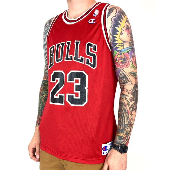 Vintage 90s Champion NBA Chicago Bulls Michael Jordan #23 red Made in USA basketball jersey - Size 44 / L
