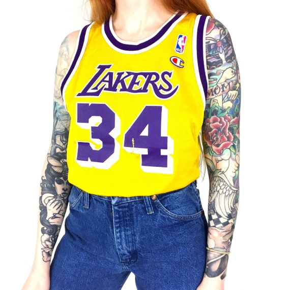 Vintage 90s Champion NBA LA Los Angeles Lakers Shaq Shaquille O'Neal #34 basketball jersey - Size Youth / Women's Large