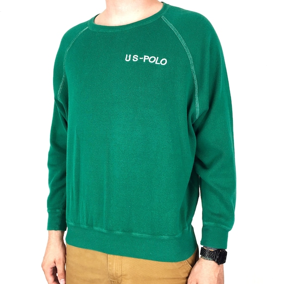 Rare Vintage 90s Ralph Lauren RL 92 93 US-Polo green raglan pullover embroidered sweatshirt sweater - Size S