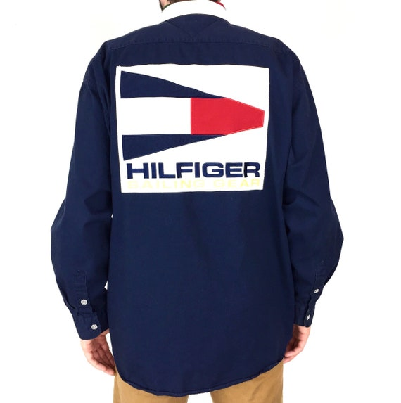 Rare Vintage 90s Tommy Hilfiger Sailing Gear embroidered big patch logo navy blue button down embroidered oxford shirt - Size L