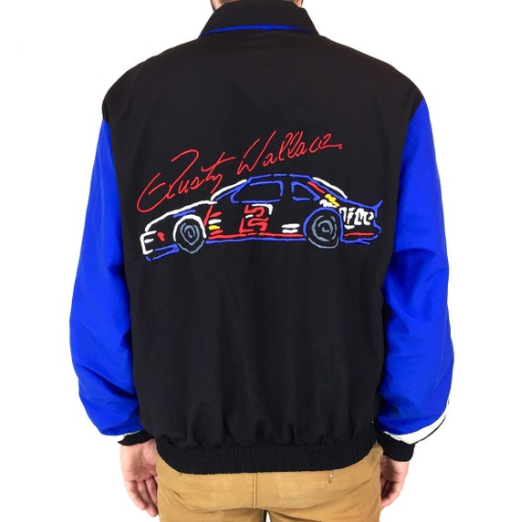 Vintage 80s NASCAR Rusty Wallace K Products Brand Miller Lite embroidered zip up race racing windbreaker jacket - Size L