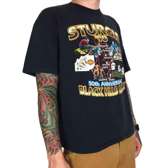 Vintage 90s 1990 90 Harley Davidson Sturgis Black Hills Rally single stitch moto motorcycle graphic tee t-shirt shirt - Size XL